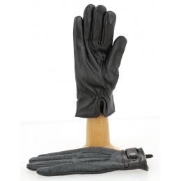 Gants Tactiles Homme Cuir Marron & Gris- Traclet
