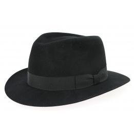 Chapeau Fedora Brisbane Feutre Poil Rasé Noir- Crambes