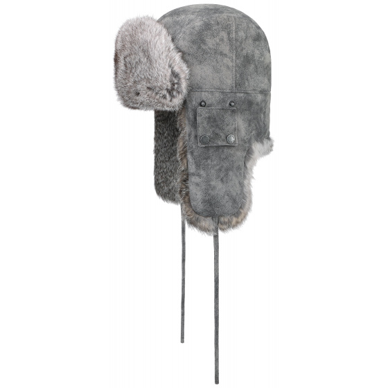 Chapka Bomber Cuir & Fourrure Lapin Grise- Stetson