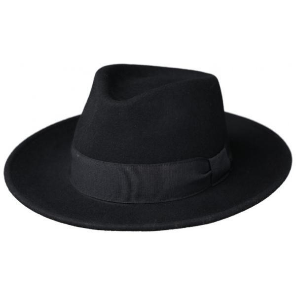 Chapeau Fedora Messine Feutre Laine Noir- Traclet