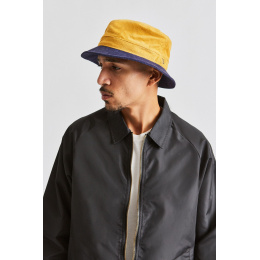 Bob Shield Velvet Hat Navy Blue & Yellow - Brixton