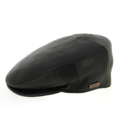 Casquette Plate Roadster Cuir Noire- Traclet
