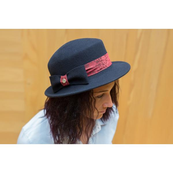 Chapeau Marine Emeline avec imprimé dentelle Rouge  -Traclet