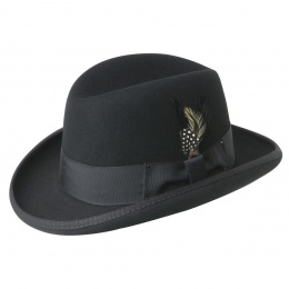 Chapeau Homburg Godfather Feutre Laine Noir- Bailey