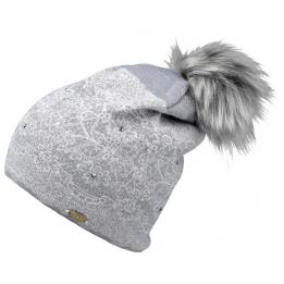 Bonnet à Pompon avec Strass Gris- Traclet