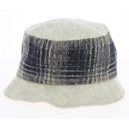 Linen Bell Hat Beige & Navy Blue - Traclet