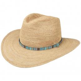 Chapeau Cowboy Raphia Crochet Paille Naturelle- Stetson