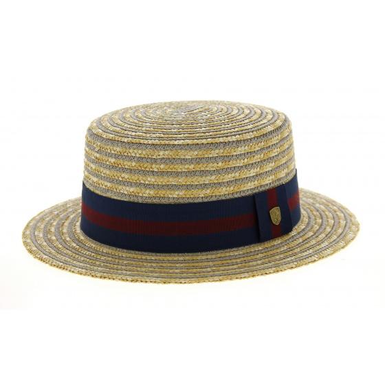 Jibacoa Straw & Cotton Striped Canotier Hat - Traclet