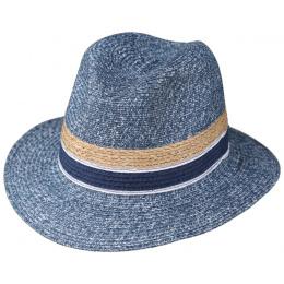 Chapeau Fedora Matanzas  Paille Papier Bleu Jean- Traclet
