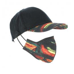 Kit Baseball Cap + Mask Cotton Mask Black Fancy - Traclet
