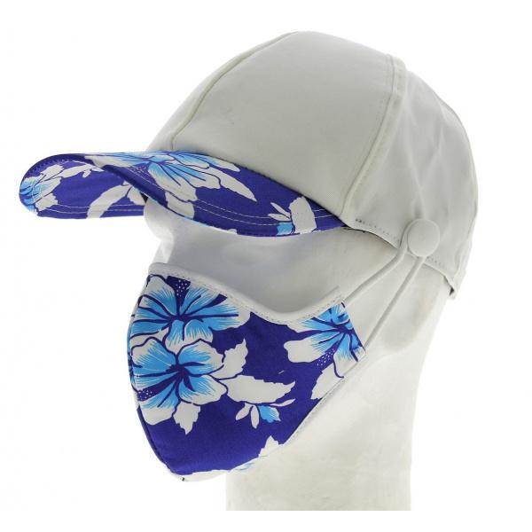 Kit Casquette Baseball + Masque Coton Blanc & Bleu Hawaii- Traclet