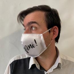 """Masque """"Déconfiné !"""" Fantaisie Élastique Blanc- Traclet"""