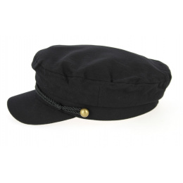 Casquette Marin Coton Noire Chevrons- Traclet
