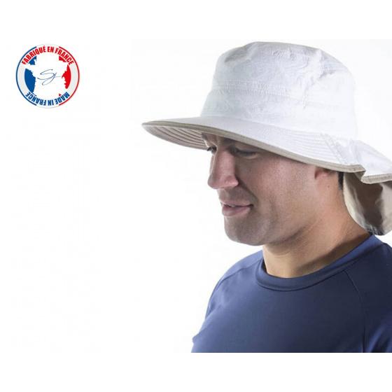 Chapeau Bordelais Moyen Bord avec Protège-Nuque blanc/Beige- Soway