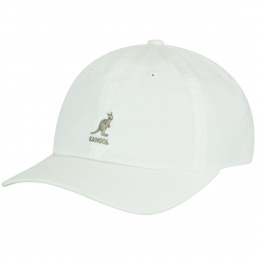 White Cotton Washed Baseball Cap - Kangol