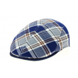 Blue Stripe Teddy Cotton Flat Cap - Traclet