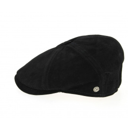 Halflight Leather Suede Flat Cap - Black - Traclet
