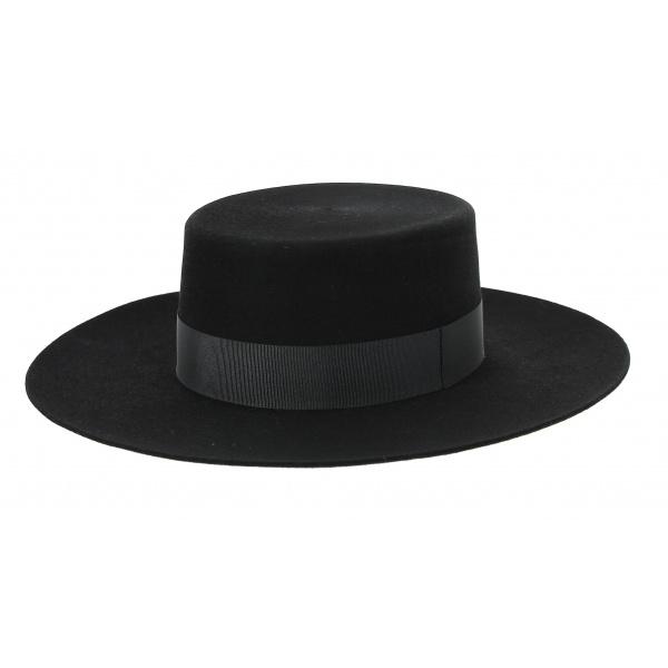 Chapeau Santiago - Cordobes/Canotier Feutre Laine noir - Traclet