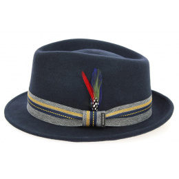 Chapeau Trilby Feutre Laine Bleu Marine- Stetson