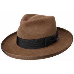 Chapeau Homburg Amish Feutre Poil Marron- Stetson
