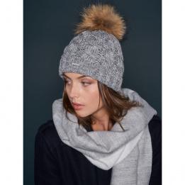 Bonnet à pompon-Fourrure Calgary Gris  - Pipolaki