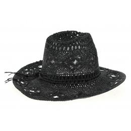 Chapeau Mackay Western Noir Paille Papier- Traclet