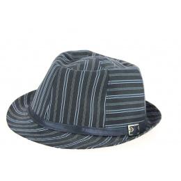 Chapeau Trilby Karma à Rayures Bleu Marine Coton- Traclet