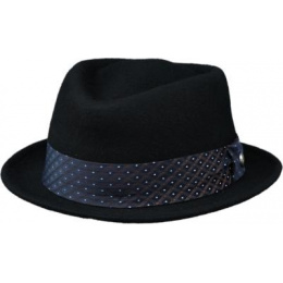PorkPie Hat Harlequin Wool Felt Black - Traclet