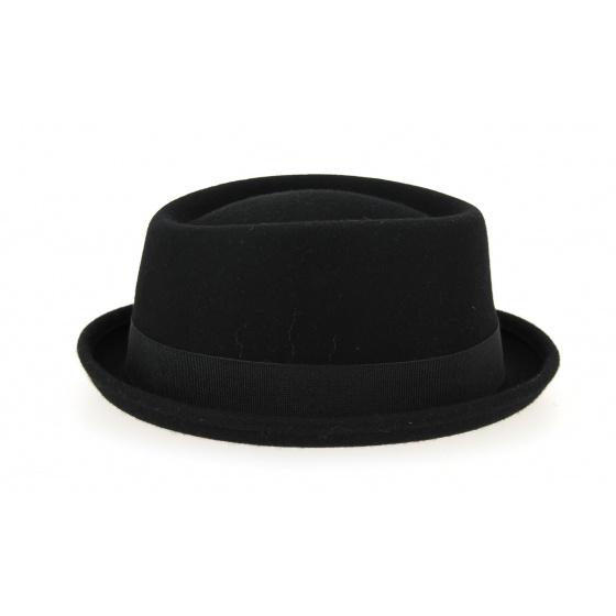 Chapeau Porkpie Feutre Laine Noir- Traclet