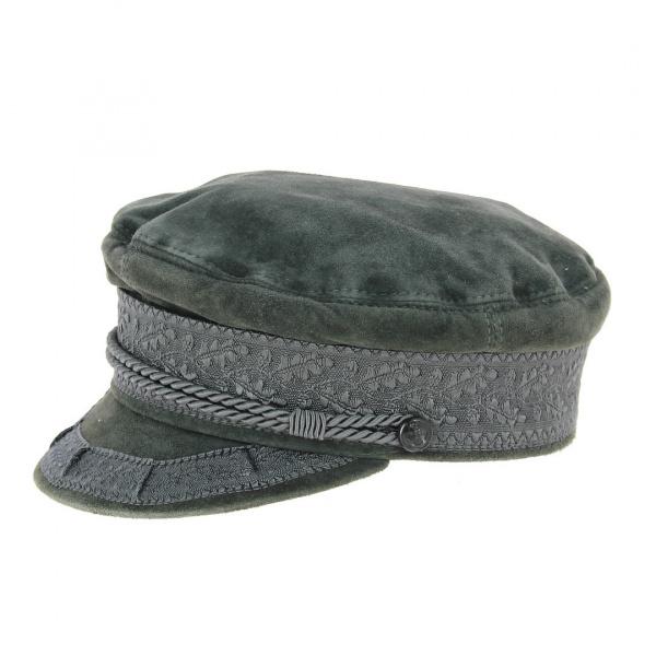 Casquette marin grise cuir veritable