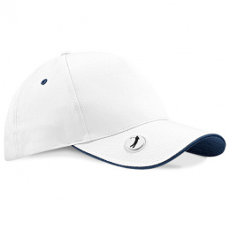 Golf Pro-Style Cap Black - White Cotton - Beechfield