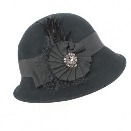 Chapeau cloche monique laine noire