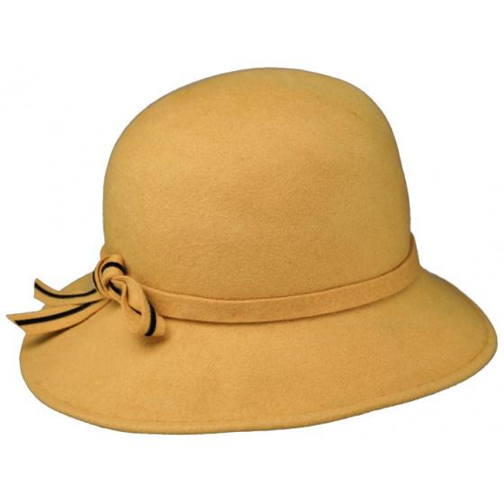Chapeau Cloche Milan Feutre jaune moutarde - Traclet