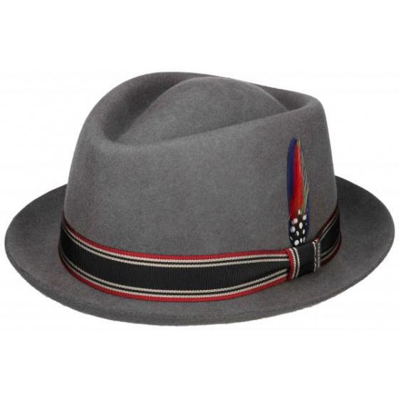 Black felt trilby hat