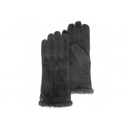 Gants cuir noir   et fourrure- Isotoner