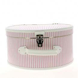 Boîte à Chapeau à rayures roses et blanches - Traclet