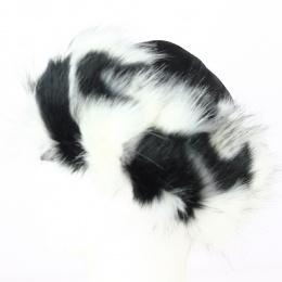 Toque Mounkou-Sardyk cuir noir et fourrure noire et blanche