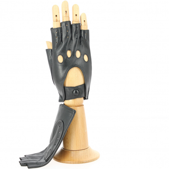 Black Leather Driving Mittens
