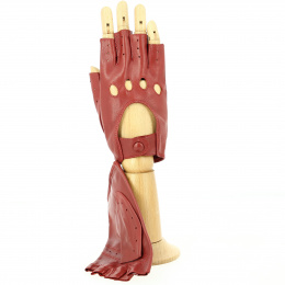 Red Leather Driving Mittens / Driving Gloves - Tracletto