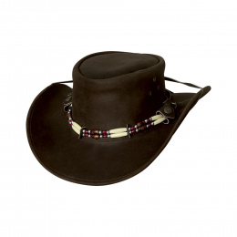 Brown Indiana leather hat