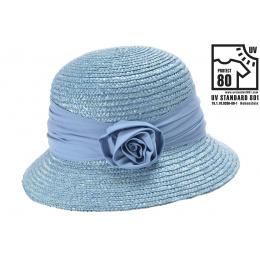 Chapeau cloche Paille bleu Ciel