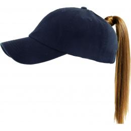 Casquette Baseball Femme Ponytail Marine - Traclet