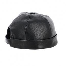 Docker Cap Nappa Black Leather - Traclet