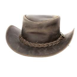 Brown Braided Leather Traveller Hat - Traclet