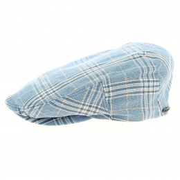 Blue checkered flat cap