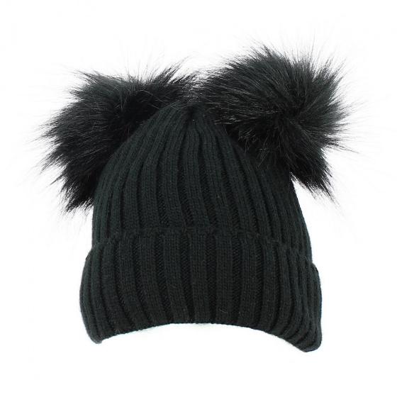 Bonnet Revers Pompon Fausse Fourrure Noir - Traclet