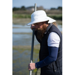 Chapeau Bordelais Moyen Bord avec Protège-Nuque Blanc- Soway
