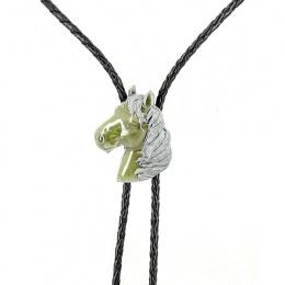 Bolo Tie Tête de Cheval Vert & Argent