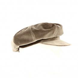 Casquette forme Gavroche velours marron - Traclet